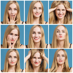 Collage of a beautiful woman with different facial expression