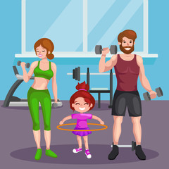 sport family vector set. fitness gym, fitness people, fitness concept, Fitness woman and man, child fitness