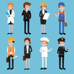 set of cartoon vector characters of different professions isolated on blue background.Vector flat profession character.