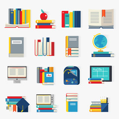 School Books Decorative Icons Set