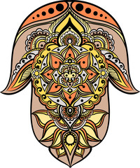 drawing of a Hand of Fatima (Hamsa) in orange, yellow, beige and gray colors on a white background