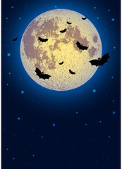 Illustration on theme of Halloween. Pale moon and bats in night against dark-blue starry sky. Moon furnished by NASA. Raster illustration