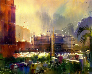 beautiful city skyline view,watercolor style