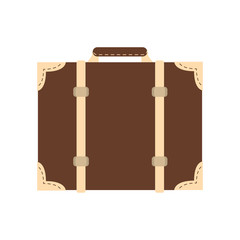 flat design classic suitcase icon vector illustration