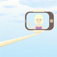 selfie cartoon people vector illustration.
