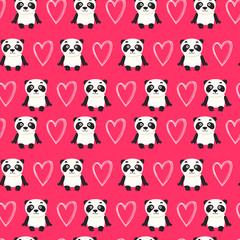 Seamless pattern with panda bear vector illustration
