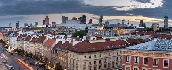 Top view panorama  of the old town in Warsaw