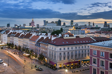 Top view  of the old town in Warsaw, Poland