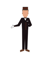 flat design bellboy or bellhop icon vector illustration