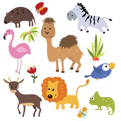 Vector set of different african animals