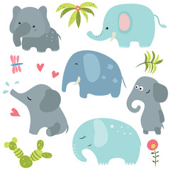 Set funny elephants