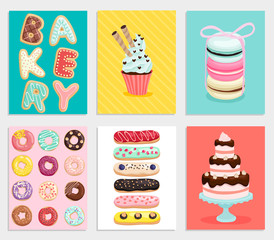 Wall Mural - Sweet bakery card set.