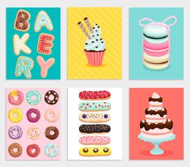Wall Mural - Sweet bakery card set.