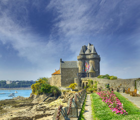 Port Solidor at low tide and the Solidor tower, Saint Malo in Brittany, France.
