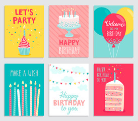 Wall Mural - Birthday card set.