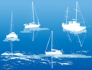 four ship silhouettes on blue background