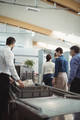 Passengers passing through security check