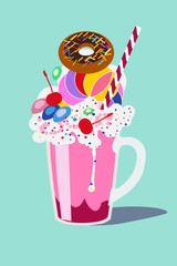 Glass with a milkshake with a whipped cream, with a donut and a cherry. Isolated vector illustration flat design.