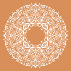 Round decorative ornament, color floral pattern, vector illustration