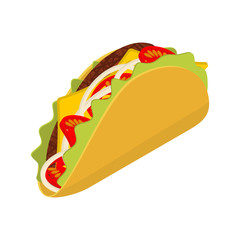 Taco isometrics on white background. Traditional Mexican food. T