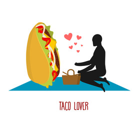 Taco lover. Mexican food at picnic. Rendezvous in Park. Fastfood