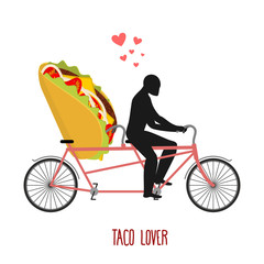 Lover taco. Mexican food on bicycle. Lovers of cycling. Man roll