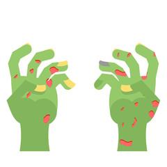 Zombie Hands. Limbs green zombi. cadaveric spots on arm