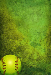 Textured Softball Background with Ball