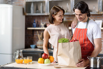 Happy married couple prefers healthy eating