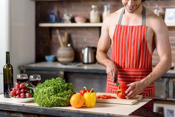 Handsome guy preparing healthy food