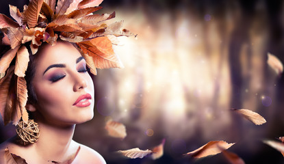 Beauty Fashion Girl In Autumnal Forest