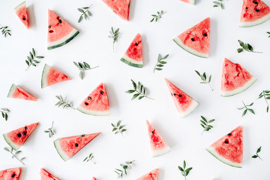 watermelon pieces pattern on white background. flat lay, top view