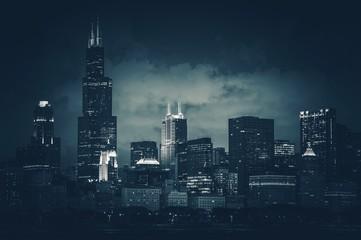 Printed roller blinds Chicago Chicago City Skyline Dark Blue