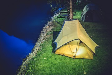 Wall Mural - Tent Camping at Night
