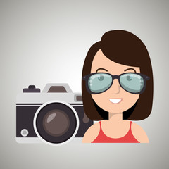 woman camera tickets travel vector illustration  design