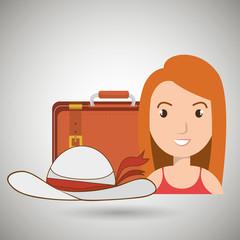 woman bag hat travel vector illustration  design