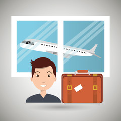 man suitcase airplane window vector illustration design