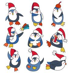 Penguin in christmas hat doodle