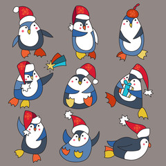 Penguin in christmas hat doodle