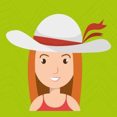 traveler woman tourist icon vector illustration design