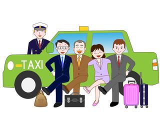 タクシーで移動するビジネスマン