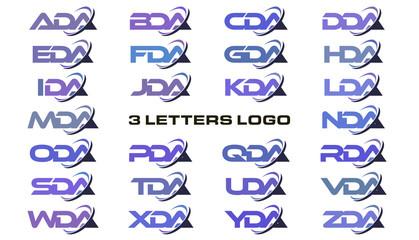 3 letters modern swoosh logo  ADA, BDA, CDA, DDA, EDA, FDA, GDA, HDA, IDA, JDA, KDA, LDA, MDA, NDA, ODA, PDA, QDA, RDA, SDA, TDA, UDA, VDA, WDA, XDA, YDA, ZDA.