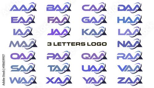 3 Letters Modern Swoosh Logo Aaa Baa Caa Daa Eaa Faa Gaa Haa