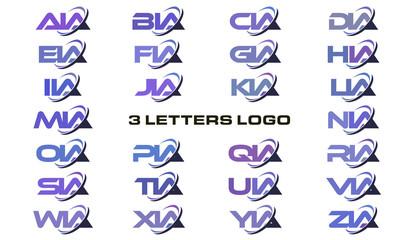 3 letters modern swoosh logo for agency, administration, assocition, academy, alliance. AA, BA, CA, DA, EA, FA, GA, HA, IA, JA, KA, LA, MA, NA, OA, PA, QA, RA, SA, TA, UA, VA, WA, XA, YA, ZA.
