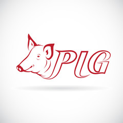 Vector design a pig head is text on a white background.