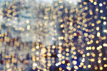 Christmas abstract blur background - light bokeh from Xmas tree at night party in winter. vintage...