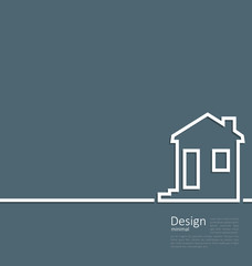 Web template house logo in minimal flat style cleaness line