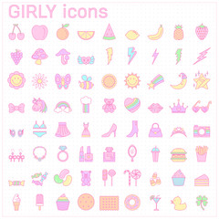 sweet girly icon set pastel color