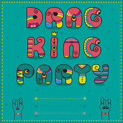 Drag King Party. Funny invitation