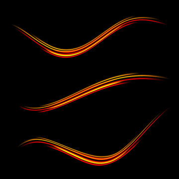 Collection of magic glowing light swirl trail trace effect on black background.